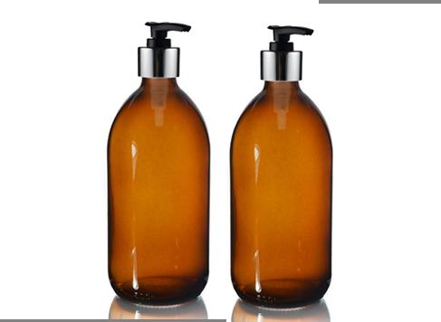 amber glass pump bottle