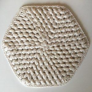 exclusive Handmade Hexagonal Crochet Placemat Cream