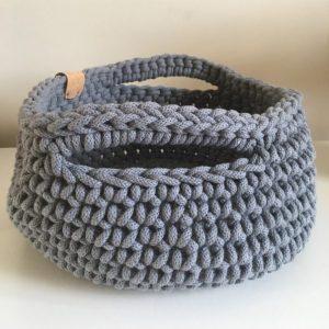 Handmade Crotched Basket Elephant Grey