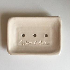 Cream Stoneware Soap Dish