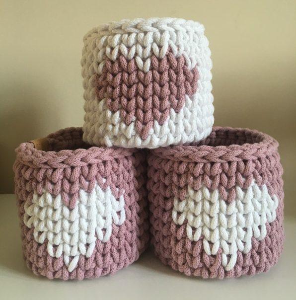 Small Cotton Crochet Basket Pink Hearts