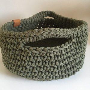 Handmade Cotton Basket Dark Olive Green
